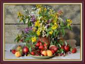 Tranh treo tường khổ nhỏ bình hoa quả trái cây một tấm Amia 2048