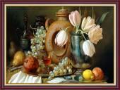 Tranh treo tường bàn ăn khổ nhỏ bình hoa quý tộc và trái cây AmiA 2049