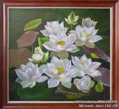 Bức tranh vẽ hoa Sen thư thái bằng sơn dầu TSD 359