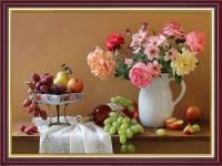 Tranh trang trí bàn ăn bình hoa hồng rượu vang khổ nhỏ AmiA 2053