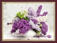 Tranh bình hoa màu tím mộng mơ treo tường khổ nhỏ AmiA 2066