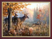 Tranh đàn hươu trong rừng mùa Thu khổ nhỏ AmiA 2067