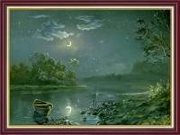 Tranh phong cảnh sông trăng treo tường khổ nhỏ AmiA 2069