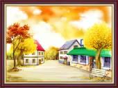 Tranh phong cảnh đẹp khu phố mùa Thu khổ nhỏ AmiA 2071