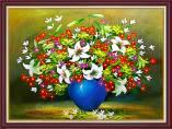 Tranh bình hoa loa kèn giả sơn dầu khổ nhỏ AmiA 2074
