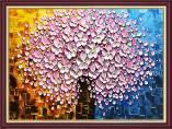Tranh bình hoa đào giả sơn dầu khổ nhỏ AmiA 2075