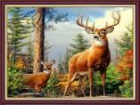 Tranh giả sơn dầu hai chú nai trong rừng khổ nhỏ AmiA 2076