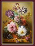 Tranh bình hoa bốn mùa giả sơn dầu nghệ thuật Amia 2079