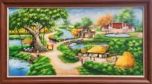 Tranh vẽ phong cảnh làng quê giếng nước sân đình sơn dầu TSD 435