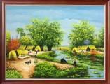 Tranh sơn dầu AmiA 379B vẽ cảnh làng quê