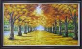 Tranh vẽ phong cảnh mùa Thu hàng cây lá vàng TSD 369