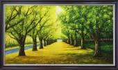 Tranh vẽ hàng cây lá vàng mùa Thu sơn dầu AmiA TSD 383
