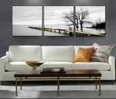 Tranh phong cảnh đen trắng: Cây cầu trên biển AmiA 1565