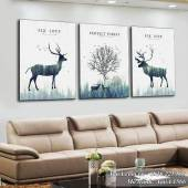 Tranh Bắc Âu khẩu hiệu bảo về rừng: Rừng cây và đàn hươu nai AmiA 1566