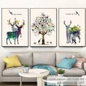 Tranh canvas Bắc âu đàn nai rừng cây 3 tấm Amia 1567