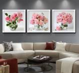 Tranh bộ 3 bình hoa hồng thủy tinh cực đẹp AmiA 1570