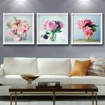 Tranh treo tường 3 bình hoa hồng lãng mạn AmiA 1572
