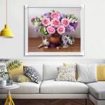 Tranh một tấm bo khung bình hoa hồng hiện đại AmiA 1574