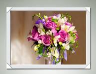 Tranh bình hoa hồng tím lãng mạn treo tường đẹp Amia 1576