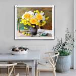 Tranh bình hoa hồng vàng hoa cúc một tấm hiện đại Amia 1578