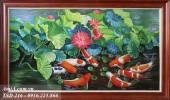 Tranh phong thủy vẽ sơn dầu: Cá chép hoa sen TSD 216
