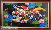 Tranh sơn dầu cửu ngư quần hội sỏi vàng TSD 207