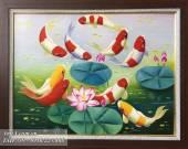 Tranh cá chép hoa sen vẽ sơn dầu hợp phong thủy TSD 339