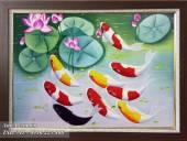 Tranh vẽ cá chép hoa sen bằng sơn dầu ý nghĩa TSD 341