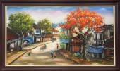 Tranh sơn dầu khổ lớn vẽ phong cảnh phố cổ TSD 371