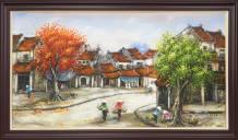 Tranh sơn dầu khổ lớn vẽ phố cổ gánh hàng rong AmiA TSD 306B