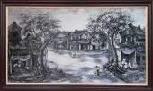Tranh vẽ sơn dầu đen trắng: Phố cổ Hà Nội TSD 329