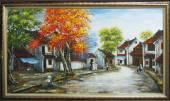 Tranh vẽ phố cổ mùa Thu bằng sơn dầu TSD 365
