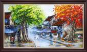 Tranh vẽ phố cổ mùa Thu bằng sơn dầu cực đẹp TSD 390