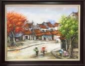 Tranh vẽ phong cảnh sơn dầu phố xưa Hà Nội TSD 306