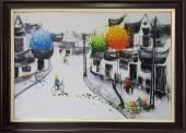 Tranh vẽ phố cổ bằng sơn dầu đen trắng TSD 334
