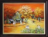 Tranh sơn dầu vẽ phố cổ dưới nắng Thu rực rỡ khổ nhỏ TSD 393B