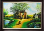Tranh vẽ phong cảnh làng quê nông thôn Việt Nam TSD 330