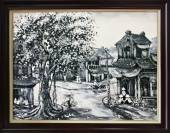 Tranh sơn dầu phố cổ hà nội xưa đen trắng TSD 308