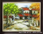 Tranh vẽ phong cảnh phố xưa Hà Nội bằng sơn dầu TSD 307