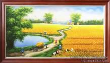 Tranh vẽ đồng quê em mùa thu hoạch lúa sơn dầu khổ lớn TSD 326B