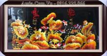 Tranh cá chép Sen Vàng Phúc Lộc thêu tay cao cấp Amia TTH 236