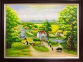 Tranh làng quê sơn dầu khổ nhỏ TSD 378B