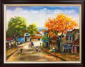 Tranh sơn dầu đẹp vẽ phố cổ khổ nhỏ TSD 371B