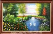 Tranh sơn dầu hồ thiên nga trong rừng Amia TSD 437