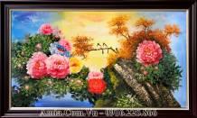 Tranh sơn dầu hoa mẫu đơn đôi chim khổ lớn TSD 444