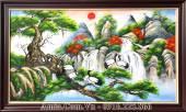 Tranh tùng hạc diên niên vẽ sơn dầu AmiA TSD 206