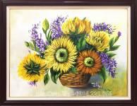 Tranh vẽ giỏ hoa hướng dương sơn dầu AmiA TSD 447