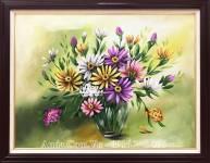 Tranh sơn dầu đẹp AmiA TSD 448 bình hoa cúc nghệ thuật