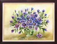 Tranh sơn dầu vẽ bình hoa màu xanh TSD 450