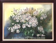 Tranh sơn dầu bình hoa cúc họa mi AmiA TSD 451